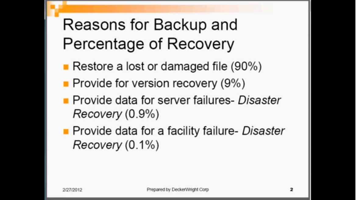 Business Computer Backup and Disaster Recovery